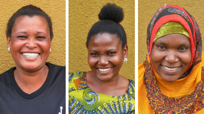 three women from our project in Tanzania on a bright yellow background