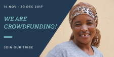 We are crowdfunding - 14 November to 20 December - Join our tribe. With a picture of a woman farmer in a leopard print headscarf.