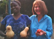 Tricia and Elitruda with fresh produce