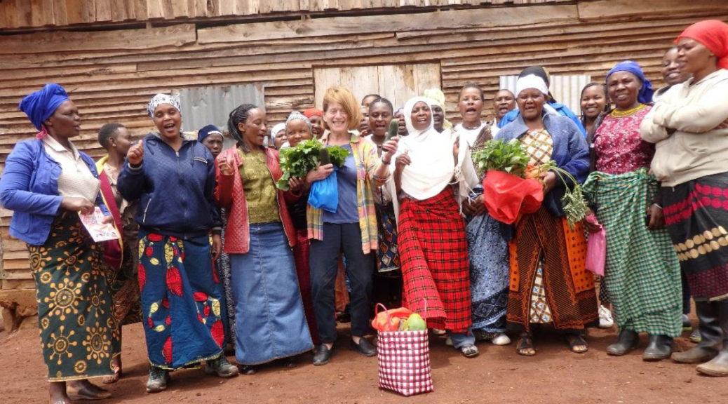 Women farmers in Namwai, Tanzania, with Tricia Barnett